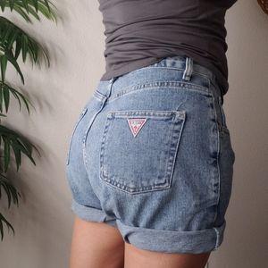 VTG Guess 90s triangle high rise long denim shorts